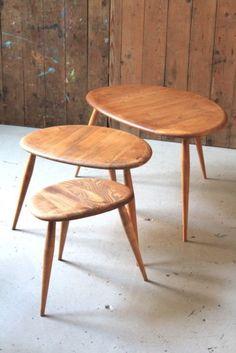 Ercol Nest Of Three Tables, Pebble, Retro, Household | eBay
