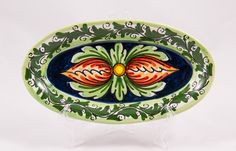 #Souvenir #Plate: #Italy. #Sicily. Two Red Tulips. #Caltagirone #Ceramics. Hand Made. Oval. Diameter 21 cm