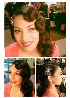 ❤ - retro - vintage hair - long hair - long vintage hair - curly hair - long curly hair - pincurls - 40s hair