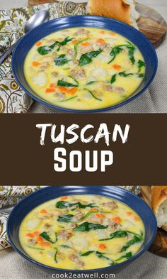 This Tuscan Soup is hearty and delicious. With Italian sausage, cannellini beans, potatoes, carrots, spinach, onions and garlic, this is one soup that won't leave you hungry! Soup Recipes, Dinner Recipes, Cooking Recipes, Healthy Recipes, Tuscan Soup, Cooking For Beginners, Easy Family Dinners, Anti Inflammatory Recipes, Quick Meals