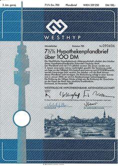 Westfälische Hypothekenbank Dortmund 1989 Bank DM Anleihe Westhyp Fernsehturm