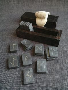Mead Hall:  Inlaid Forged Iron Silver Elder Futhark #Runes Set, Norse, Viking.