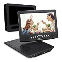 NAVISKAUTO 10.1 Inch HD 1080P Portable DVD/CD Player USB/SD Card Reader with 5 Hour Built-In Rechargeable Battery, 270° Swivel Screen, 3m AC/DC Adapter and Car Headrest Mount Case-Black