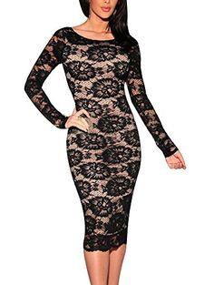 Cfanny Women's Open Back Floral Lace Nude Illusion Bodycon Dress - http://darrenblogs.com/2016/01/cfanny-womens-open-back-floral-lace-nude-illusion-bodycon-dress/