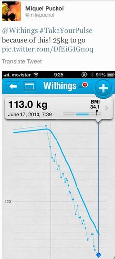 "Miquel Puchol (twitter.com/mikepuchol) tweeted: "" Withings #TakeYourPulse because of this! 25kg to go pic.twitter.com/DfEiGIGnoq "" Learn more: http://www.withings.com/en/activitytracker/keepmeinformed The Withings Pulse will be available for pre-order on our website on June 17th in the afternoon (CET - Paris, France): http://store.withings.com/en_eu/  #Health #Fitness #DigitalHealth #mHealth #QuantifiedSelf #HeartRate #Pulse #Instant #Resting #SelfTracking"