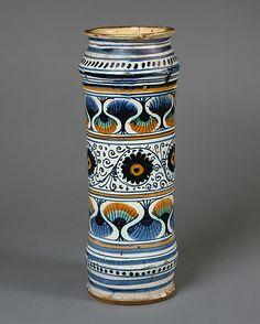 #Maiolica  --  Apothecary Jar (albarello)  --  Circa 1480  --  Italian  --  Metropolitan Museum of Art