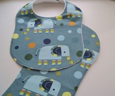 Colorful Elephants Boutique Baby Bib & Burp Cloth Gift Set  Modern Design Wedgewood Blue - You Choose Combination by PurpleLadybugGifts on Etsy
