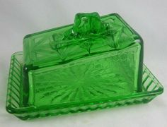 green depression glass | Green Deco Depression Glass Kitchen Cheese Butter Dish Completed