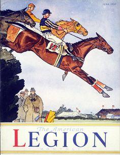 'The American Legion Monthly' June 1937 w/ Paul Brown Cover Artwork Animal Art, Art Drawings, Cover Artwork, Horse Posters, Art, Vintage Horse, Posters Art Prints
