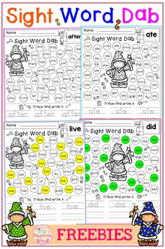 There are 10 pages of worksheets Sight Word Dab in this product. This product will help children to learn sight words by finding, dabbing, tracing, and writing. This product is also perfect for classroom activities, morning work, word work and literacy centers. Preschool | Kindergarten | Kindergarten Worksheets | First Grade | Sight Word | Sight Word Pre-Primer | Sight Word Primer | Sight Word First Grade | Sight Word Worksheets | Free Sight Word Dab | Sight Word Find and Dab | Free Lessons Preschool Kindergarten, Kindergarten Worksheets, Literacy Activities, Literacy Centers, Pre Primer Sight Words, First Grade Sight Words, Elementary Library, Elementary Education, Sight Word Worksheets