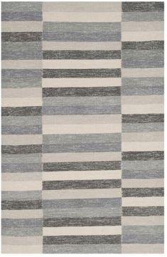 Striped Kilim STK411 Hand-Woven Area Rug, Grey
