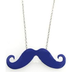 Blue Mustache Long Chain Necklace (7.695 CLP) ❤ liked on Polyvore featuring jewelry, necklaces, accessories, collares, colares, vintage necklaces, vintage jewellery, moustache jewelry, mustache necklace and blue jewelry