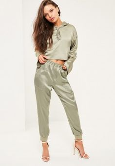 Shop our Missguided petite range, for babes and under. For sports luxe  vibes, you need these fierce sage green satin joggers with pockets and  adjustble ...