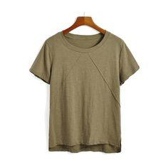 SheIn(sheinside) Dip Hem Army Green T-shirt (16 BAM) via Polyvore featuring tops, t-shirts, green, short sleeve tees, green t shirt, army green top, olive tops and short sleeve summer tops