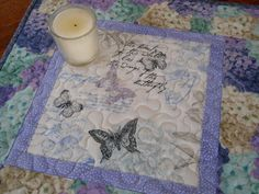 Butterfly Table Topper with Hydrangeas in Purple and by susiquilts