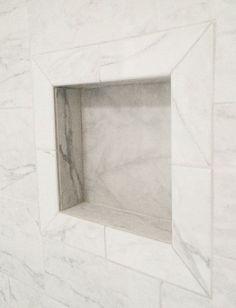 daltile marissa carrara tile from home depot, nice use of bullnose for niche, Grandma's Walk In Shower   Centsational Girl