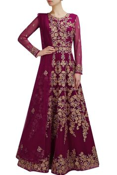 Wine color floor length anarkali gown – Panache Haute Couture