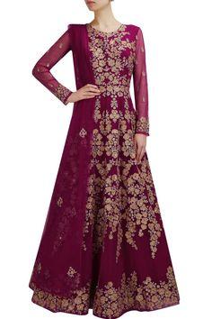 Wine color floor length anarkali gown
