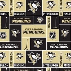NHL Hockey Pittsburgh Penguins Black and Gold Squares Cotton Fabric