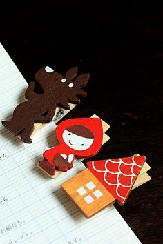 Kawaii Wooden Clip - Little Red Riding Hood