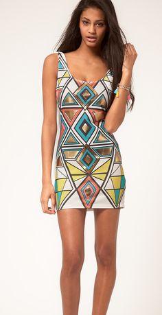 Paprika Aztec Foil Print Bodycon Dress