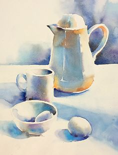 Morning White on White - Morning White on White by Yvonne Joyner Watercolor ~ 14 in x 10 in - Still Life Drawing, Painting Still Life, Still Life Art, Watercolor Fruit, Watercolour Painting, Watercolors, Watercolor Sketchbook, Watercolor Illustration, Watercolor Pictures