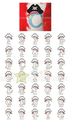 Pirate Applique Font Sizes: 4x4, 5x7, (6x10—WILL NOT fit on Janome MB-4 Machine) Upper Case, Numbers 1-9