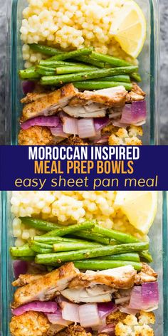 These Moroccan inspired meal prep bowls are full of warm spices and deep flavor. With spiced chicken thighs, roasted cauliflower and green beans served over lemony pearl couscous, it's an easy meal to prep on the weekend. #mealprep #sweetpeasandsaffron #sheetpan Chicken Breast Recipes Slow Cooker, Slow Cooker Freezer Meals, Chicken Breast Recipes Healthy, Grilled Chicken Recipes, Healthy Chicken, Chicken Spices, Chicken Meal Prep, Lunch Meal Prep, Meal Prep Bowls
