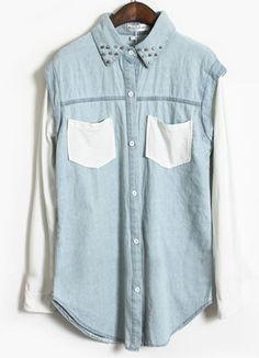 Blue Contrast White Long Sleeve Rivet Denim Blouse - Sheinside.com