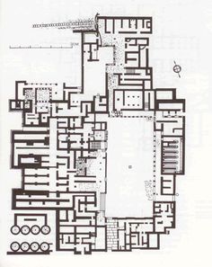 plan of palace at Malia, Minoan palace, focus on central courtyard for communicative/ritual significance, large rooms, long storage magazines, probably workshop areas, cluster of 8 silos, MM IIIB? (mid 2nd. m. BC)
