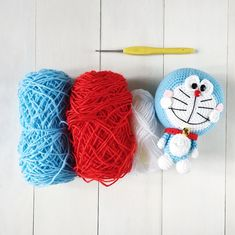 Hello my dear friends! I'm back again with another brand new amigurumi pattern. Behold, the mystical blue cat with an infinity pocket: Doraemon! I had to re-do the head a few times as I was u… Crochet Eyes, Thread Crochet, Crochet Amigurumi Free Patterns, Crochet Dolls, Glue Crafts, Doraemon, Crochet Animals, Anime Fnaf, Photography Camera