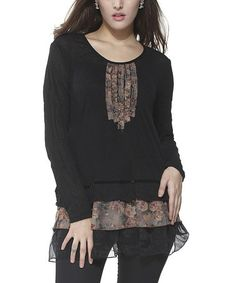 Another great find on #zulily! Black & Brown Floral Scoop Neck Tunic by Simply Couture #zulilyfinds