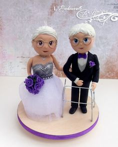 Mature People Wedding cake topper - by L'Enchanterelle