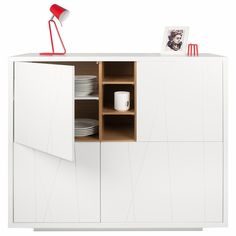 Niche Cupboard - The Niche cupboard was designed around the distinctive oak veneered niches that contrast nicely with matte finishes. Modern Sideboard, Sideboard Buffet, Home Goods Decor, Home Decor, White Cupboards, Cabinet Dimensions, Sustainable Living, White Oak, Contemporary Furniture