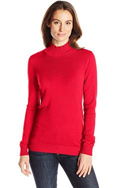 Calvin Klein Women's Essential Mock Neck Sweater, Rouge, Medium ❤ Calvin Klein Women's Collection