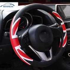 KKYSYELVA 38cm Auto Steering-Wheel Black Car Styling Steering Wheel Cover Leather Steering Covers Car Interior Accessories #Affiliate