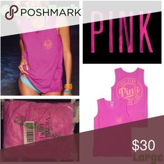 NWOT Victorias SECRET PINK CAMPUS TANK TOP LARGE Victorias SECRET PINK CAMPUS TANK TOP LARGE. Brand new in the package. Relaxed to oversized fit. Other colors available. Bundles discounts on all bundles! PINK Victoria's Secret Tops Tank Tops
