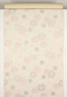 1950s Vintage Wallpaper Pink Gold Floral Starbursts