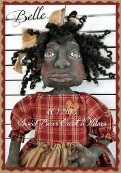 primitive cloth doll pattern black doll by SweetBearCreekWhims, $8.00