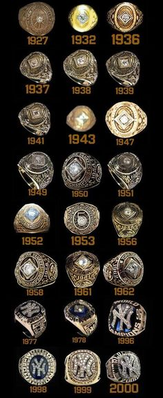 Photo of 24 of the Yankees World Championship Rings.  Love it!