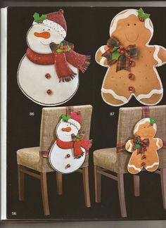 Christmas Crafts, Christmas Ornaments, Gingerbread Man, Holiday Decor, Home Decor, Yule, Ideas, Christmas Chair, Christmas Wreaths