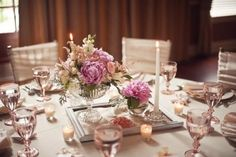 Pink and champagne table settings
