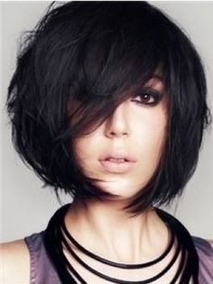 Brief+Natural+Relaxing+Cute+Short+Black+Natural+Straight+Remy+Human+Hair+Capless+Wig+about+10+inches