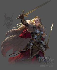 f Ranger Medium Armor Cloak Dual Longswords female Traveler Sunset med Fantasy Female Warrior, Female Knight, Fantasy Armor, Fantasy Women, Fantasy Girl, Woman Warrior, Dungeons And Dragons Characters, Dnd Characters, Fantasy Characters