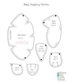 Pattern for a sewing/crochet hedgehog plush project. Felt Patterns Free, Felt Animal Patterns, Stuffed Animal Patterns, Diy Stuffed Animals, Sewing Patterns Free, Free Sewing, Crochet Hedgehog, Hedgehog Craft, Baby Hedgehog