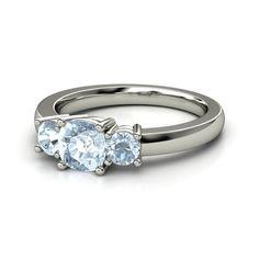 Cushion Aquamarine Sterling Silver Ring with Aquamarine - Estelle Ring (6mm gem) | Gemvara