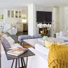 Slipcovered Sectionals - Cottage - living room - Beach Chic Design