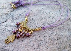 New ~~ Fatima Hand with Pearls - Lilac Cord with Beaded Dangles - Bohemian Gypsy Necklace on Etsy, $24.50