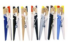 Custom Wedding Place Card Holders - 100 Hand Painted Bride and Groom Kissing Clothespins - Wedding Favors
