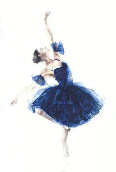 Original watercolor ballerina ballet watercolor by YuliaSheArt